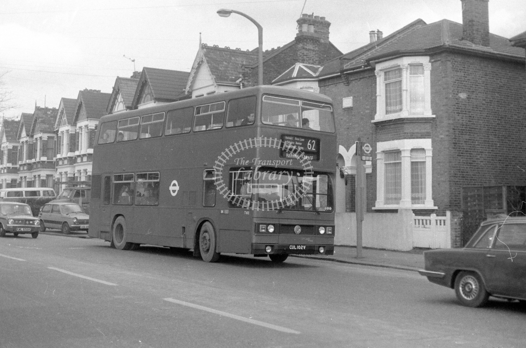 London Transport Leyland Titan T102  on route 62 CUL102V  in 1980 - JGS Smith