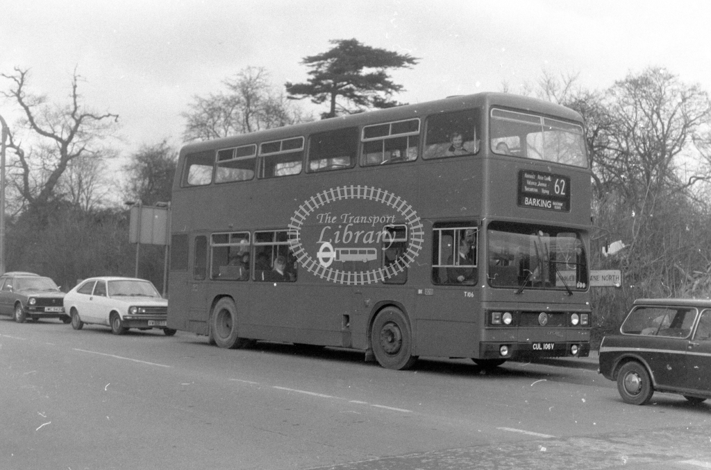 London Transport Leyland Titan T106  on route 62 CUL106V  at Chadwell Heath  in 1980 - JGS Smith
