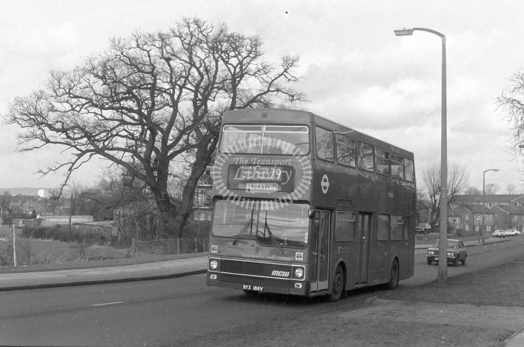 London Transport MCW Metrobus M186  on route 79 BYX186V  at Harrow  in 1980 - JGS Smith