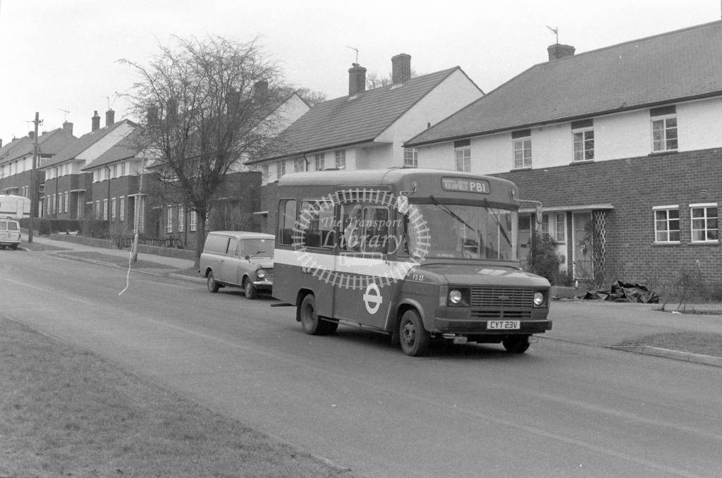 London Transport Ford Transit FS23  on route PB1 CYT23V  at Potters Bar  in 1980 - JGS Smith