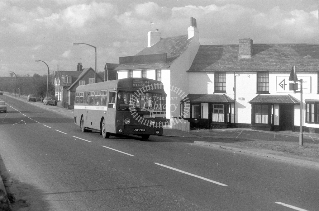 London Transport AEC Swift SMS705  on route 84 JGF705K  at South Mimms  in 1980 - JGS Smith