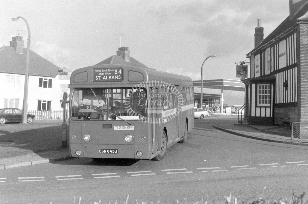 London Transport AEC Swift SMS645  on route 84 EGN645J  at South Mimms  in 1980 - JGS Smith