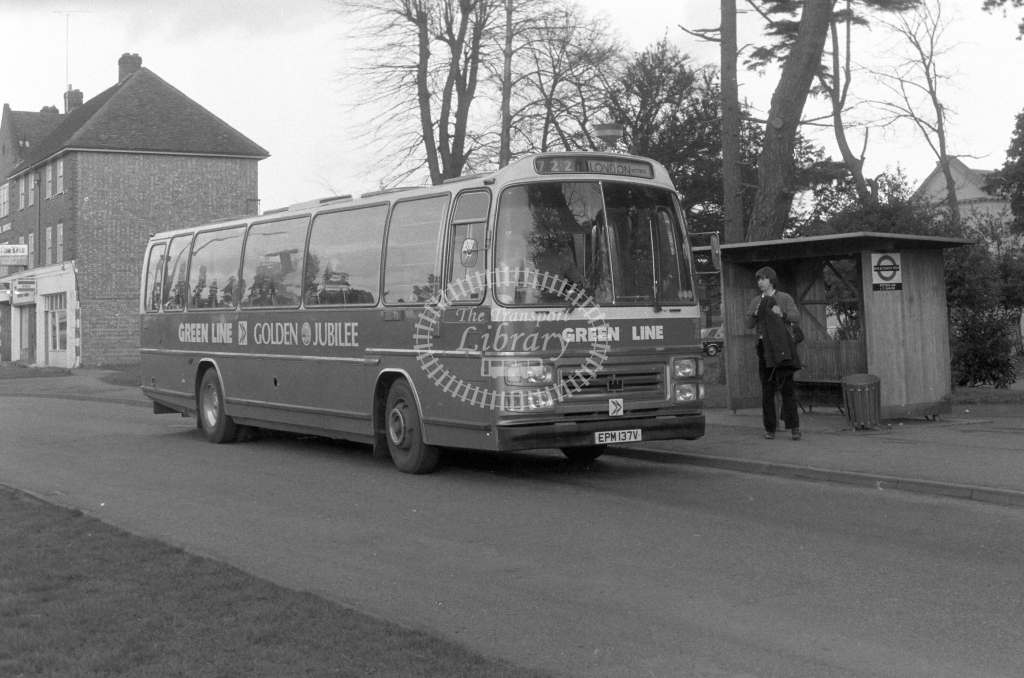London Country AEC Reliance RS137  on route 722 EPM137V  at Potters Bar  in 1980 - JGS Smith