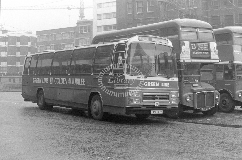 London Country AEC Reliance RS136  on route 723 EPM136V  at Aldgate  in 1980 - JGS Smith