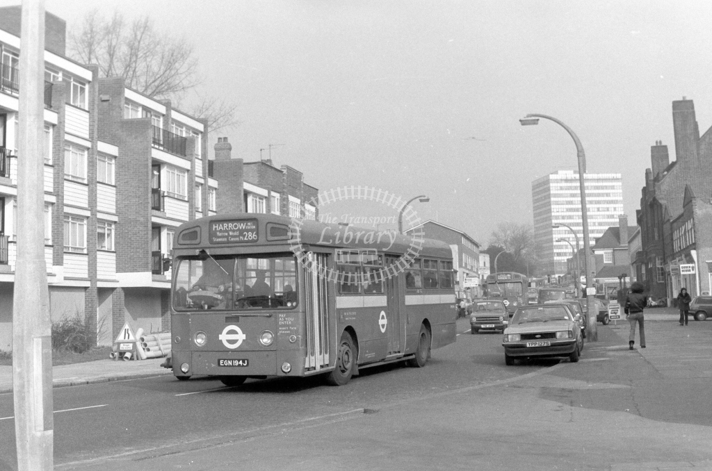 London Transport AEC Swift SMS194  on route 286 EGN194J  at Edgware  in 1980 - JGS Smith