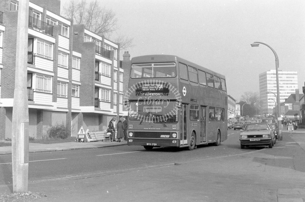 London Transport MCW Metrobus M172  on route 79A BYX172V  at Edgware  in 1980 - JGS Smith