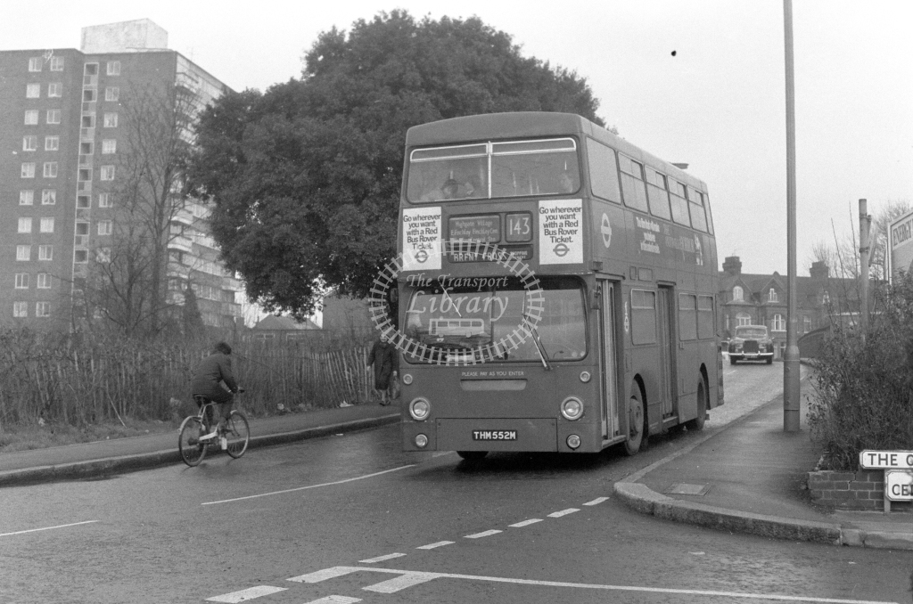 London Transport Daimler Fleetline DMS1552  on route 143 THM552M  at East Finchley  in 1980 - JGS Smith