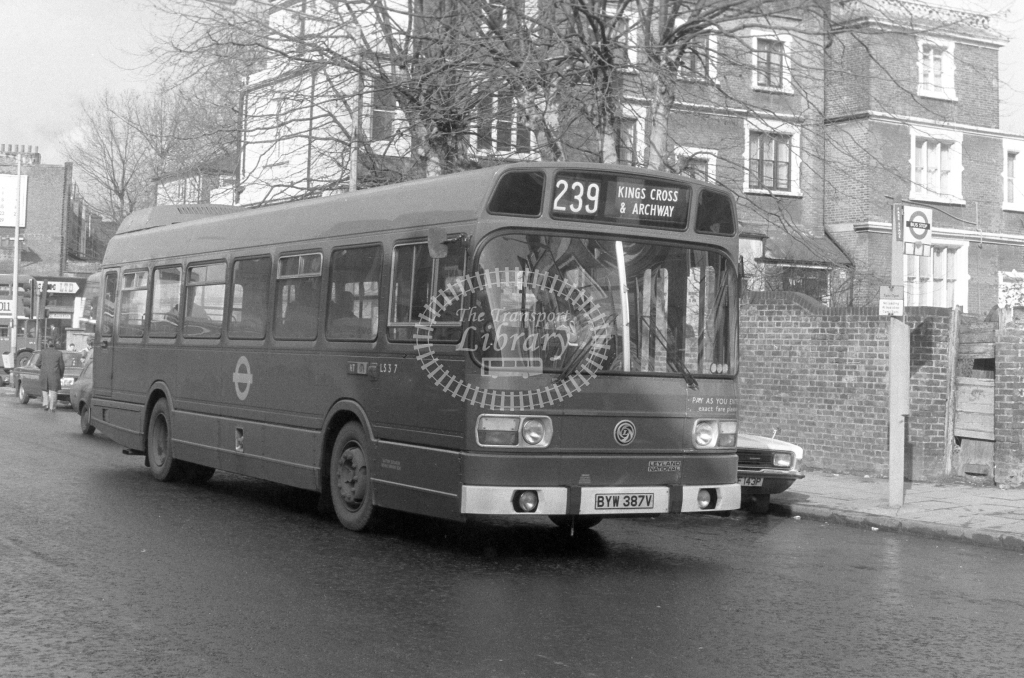 London Transport Leyland National LS387  on route 239 BYW387V  in 1980 - JGS Smith
