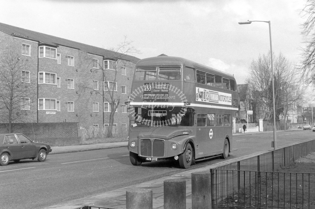 London Transport AEC Routemaster RM1626  on route 253 626DYE  at Camden  in 1980 - JGS Smith
