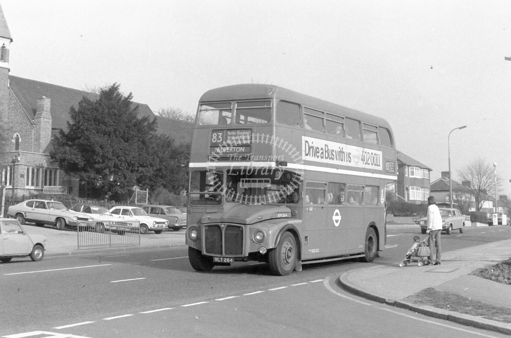 London Transport AEC Routemaster RM264  on route 83 VLT264  at Kingsbury  in 1980 - JGS Smith