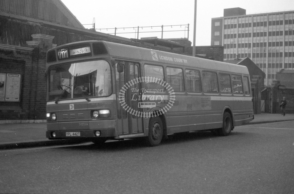 London Country Leyland National SNB442  on route 701 YPL442T  at Victoria  in 1980 - JGS Smith