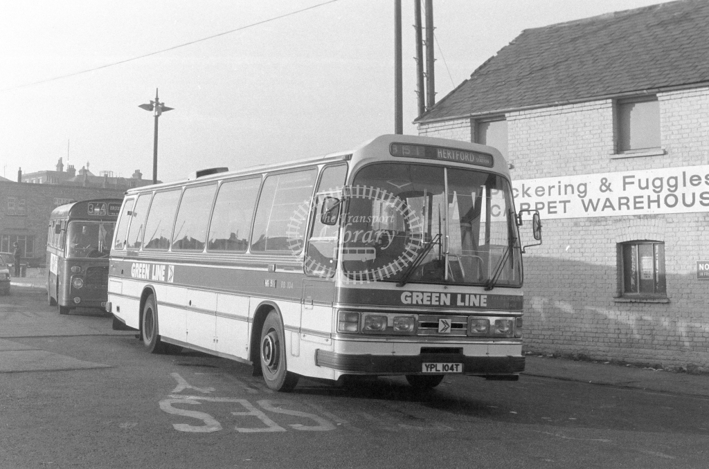 London Country AEC Reliance RB104  on route 351 YPL104T  at Hertford  in 1980 - JGS Smith