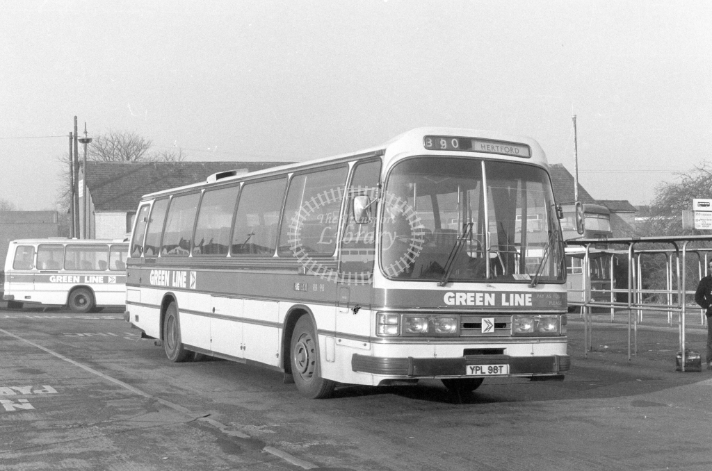 London Country AEC Reliance RB98  on route 390 YPL98T  at Hertford  in 1980 - JGS Smith