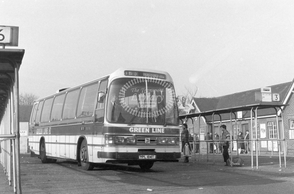 London Country AEC Reliance RB104  on route 350 YPL104T  at Hertford  in 1980 - JGS Smith
