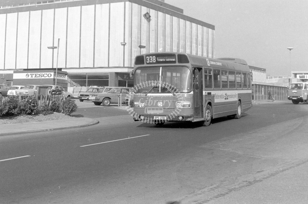London Country Leyland National SNB291  on route 338 SPC291R  at Harlow  in 1980 - JGS Smith