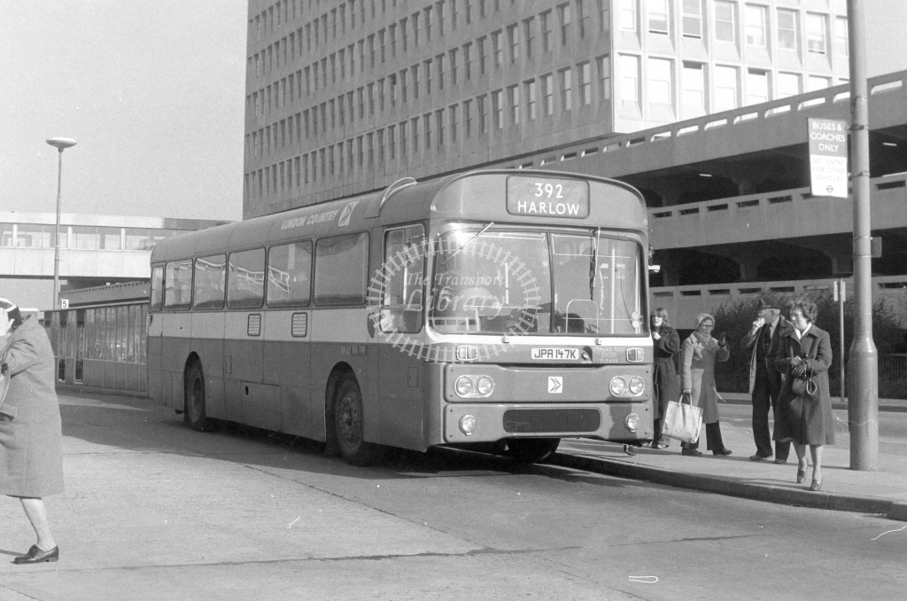 London Country AEC Reliance RP47  on route 392 JPA147K  at Harlow  in 1980 - JGS Smith