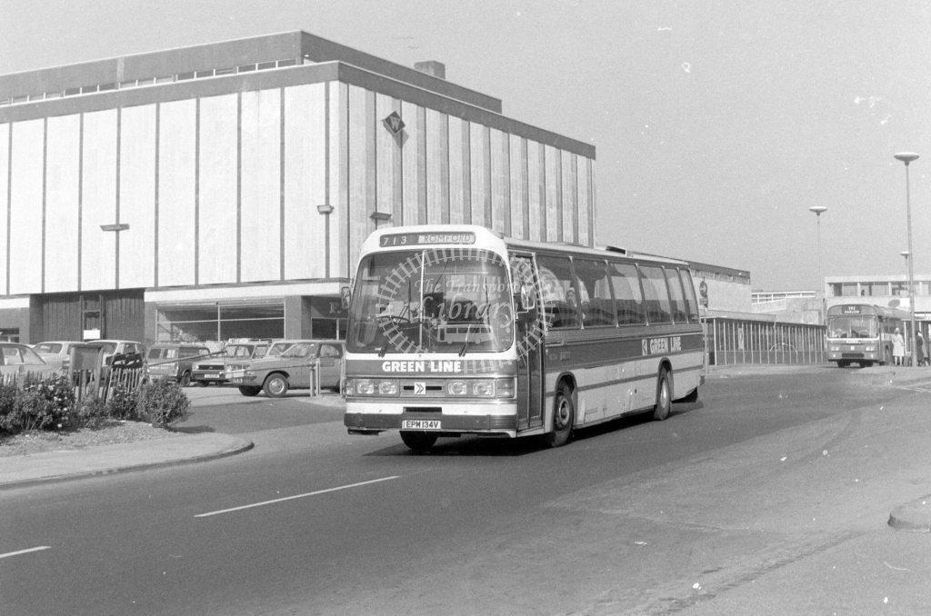 London Country AEC Reliance RB134  on route 713 EPM134V  at Harlow  in 1980 - JGS Smith