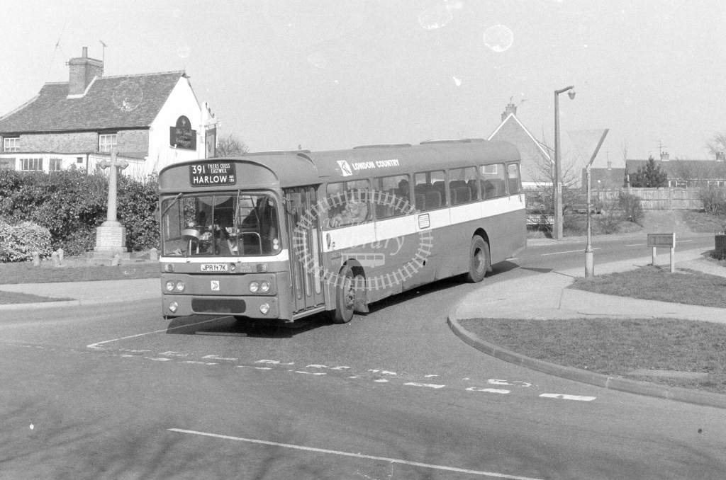 London Country AEC Reliance RP47  on route 391 JPA147K  at Harlow  in 1980 - JGS Smith