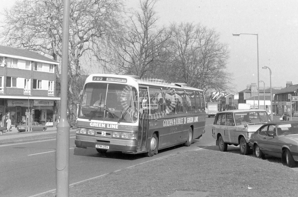 London Country AEC Reliance RB135  on route 702 EPM135V  at Epping  in 1980 - JGS Smith