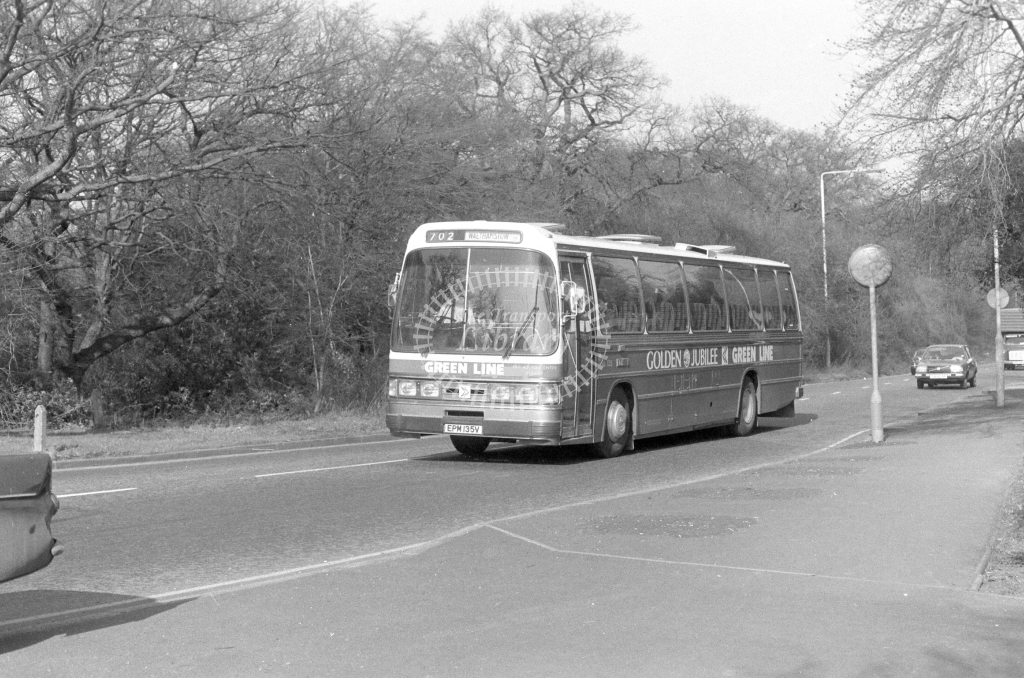 London Country AEC Reliance RB135  on route 702 EPM135V  in 1980 - JGS Smith