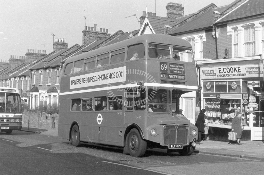 London Transport AEC Routemaster RM672  on route 69 WLT672  in 1980 - JGS Smith
