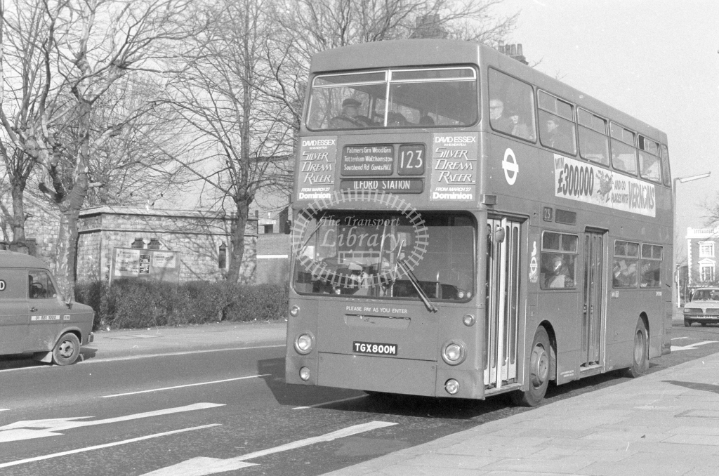 London Transport Daimler Fleetline DMS800  on route 123 TGX800M  at Wood Green  in 1980 - JGS Smith