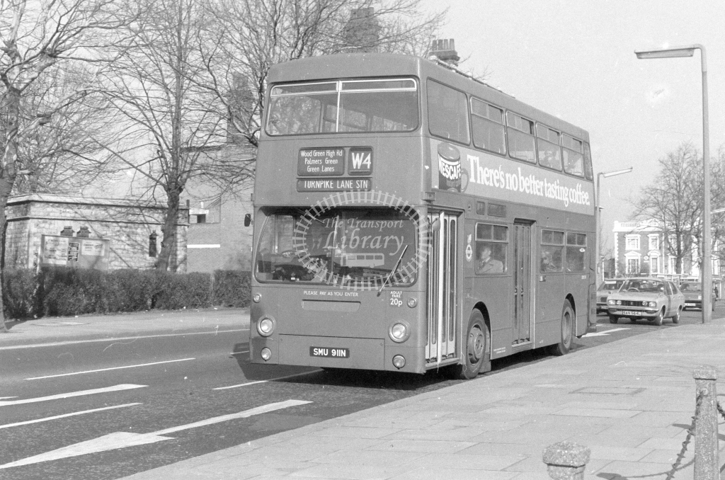 London Transport Daimler Fleetline DMS911  on route W4 SMU911N  at Wood Green  in 1980 - JGS Smith