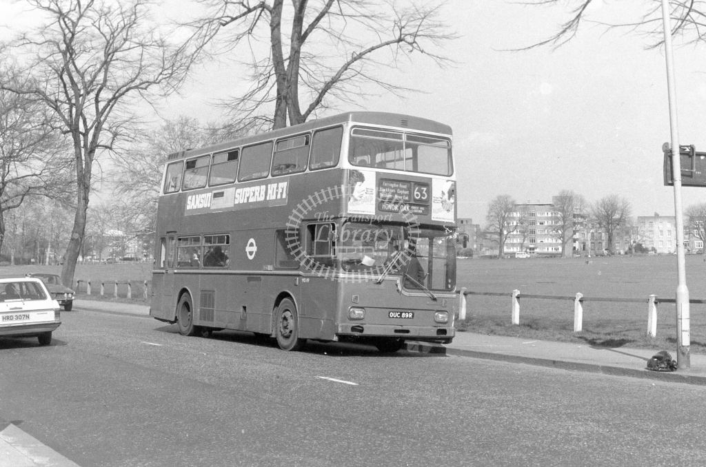 London Transport Scania BR111 MD89  on route 63 OUC89R  at Peckham Rye  in 1980 - JGS Smith