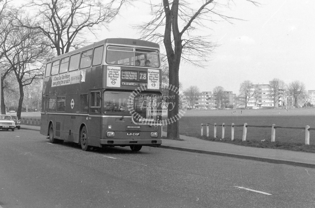 London Transport Scania BR111 MD35  on route 78 KJD235P  at Peckham Rye  in 1980 - JGS Smith