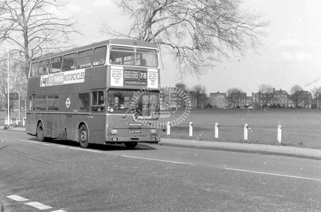 London Transport Scania BR111 MD45  on route 78 KJD245P  at Peckham Rye  in 1980 - JGS Smith