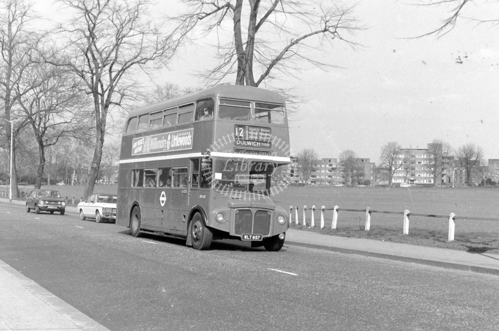 London Transport AEC Routemaster RM657  on route 12 WLT657  at Peckham Rye  in 1980 - JGS Smith