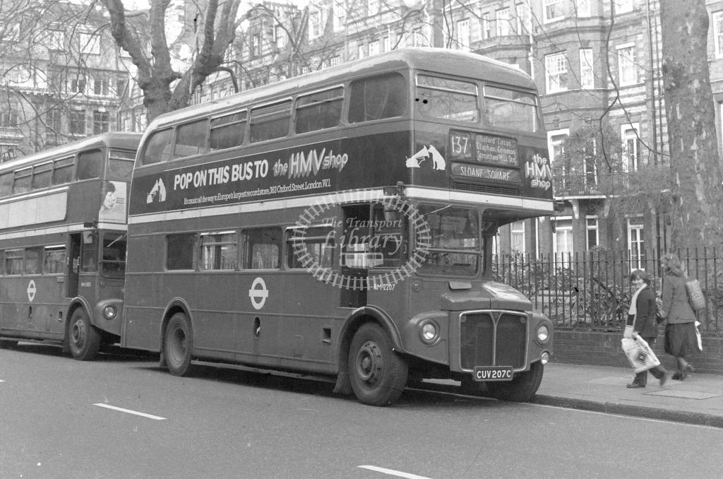 London Transport AEC Routemaster RM2207  on route 137 CUV207C  at Sloane Square  in 1980 - JGS Smith