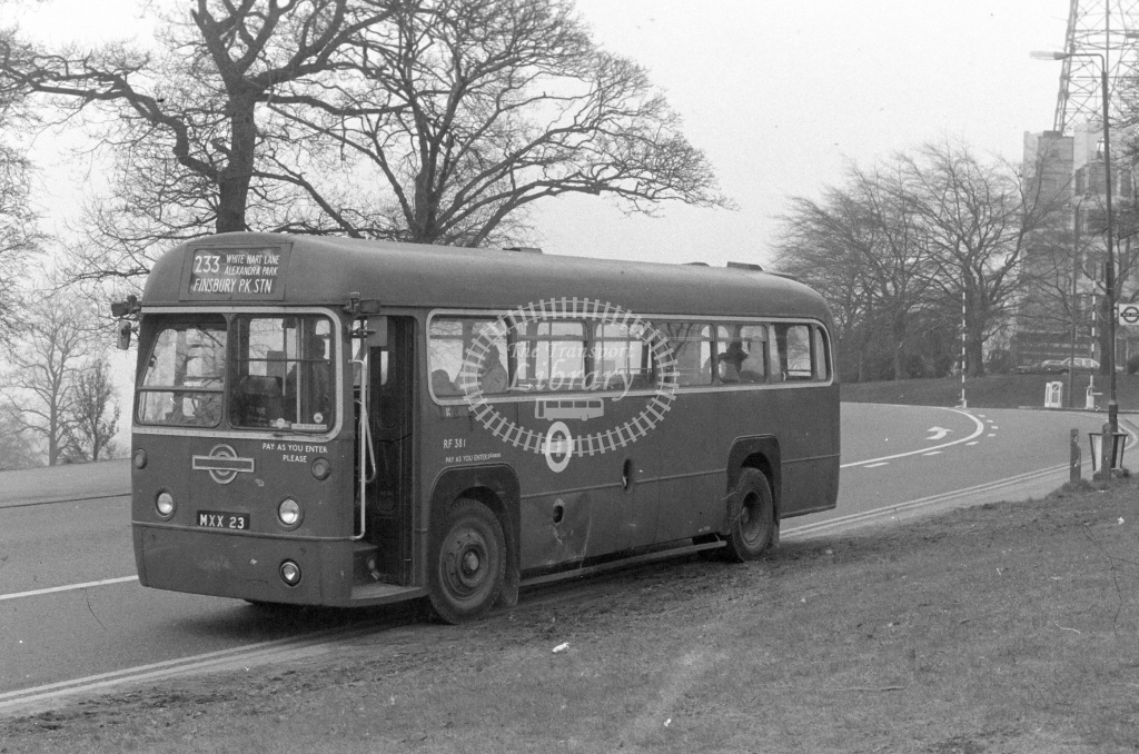 London Transport AEC Regal RF381  on route 233 MXX23  at Alexandra Palace  in 1980 - JGS Smith