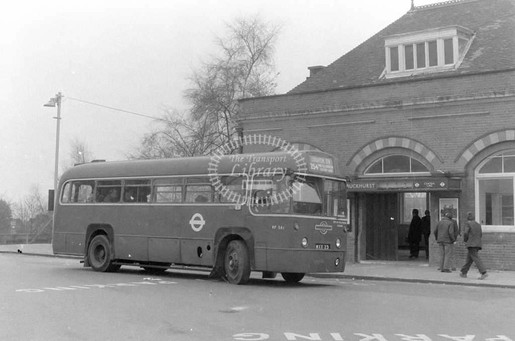London Transport AEC Regal RF381  on route 254 MXX23  at Buckhurst Hill Stn  in 1980 - JGS Smith