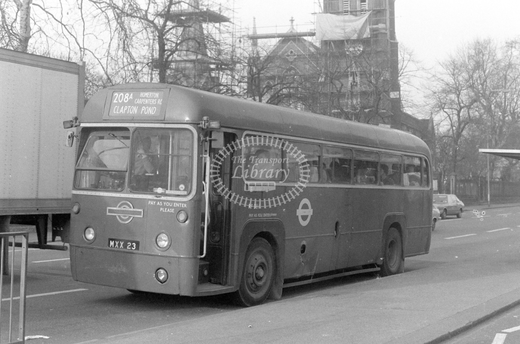 London Transport AEC Regal RF381  on route 208A MXX23  at Stratford  in 1980 - JGS Smith