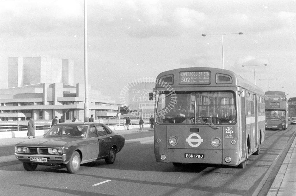 London Transport AEC Swift SMS179  on route 502 EGN179J  at Waterloo Bridge  in 1980 - JGS Smith