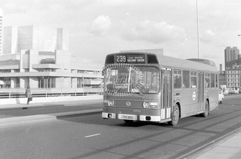 London Transport Leyland National LS185  on route 239 THX185S  at Waterloo Bridge  in 1980 - JGS Smith