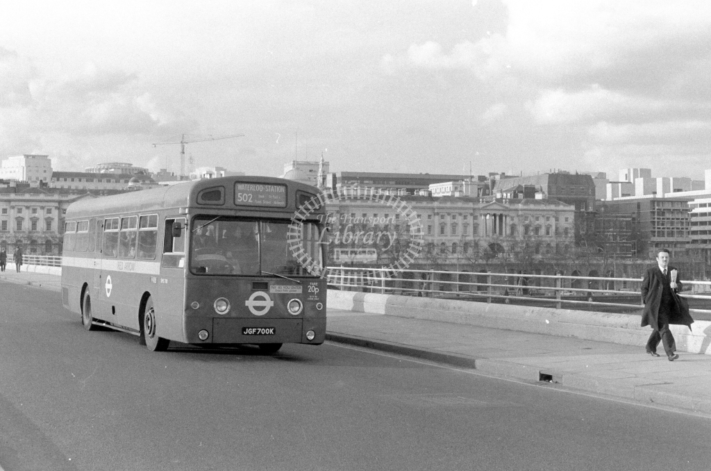 London Transport AEC Swift SMS700  on route 502 JGF700K  at Waterloo Bridge  in 1980 - JGS Smith