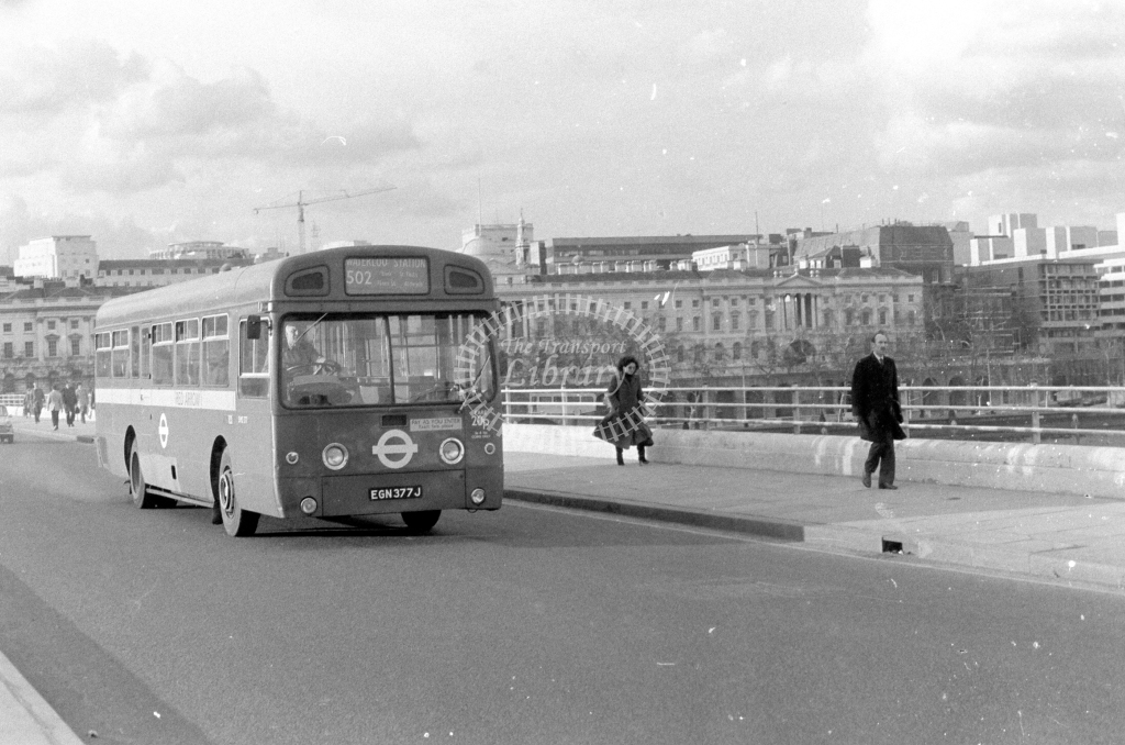London Transport AEC Swift SMS377  on route 502 EGN377J  at Waterloo Bridge  in 1980 - JGS Smith