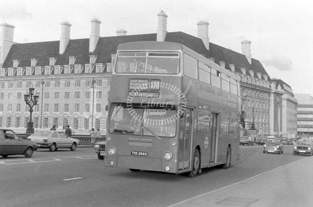 London Transport Leyland Fleetline DMS2296  on route 170 THX296S  at Westminster Bridge  in 1980 - JGS Smith
