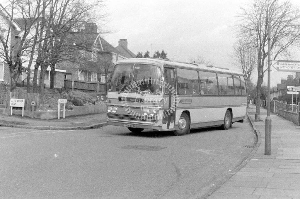 Banstead Coaches Bedford YRQ VOR813N  at Coulsdon  in 1980 - JGS Smith