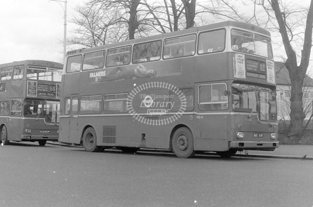 London Transport Scania BR111 MD111  on route 122 OUC111R  at Crystal Palace  in 1980 - JGS Smith