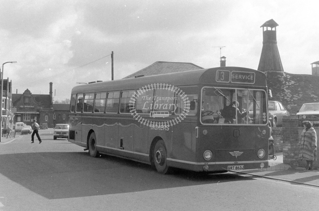 Bickers AEC Swift GRT863J  at Stowmarket  in 1980 - JGS Smith
