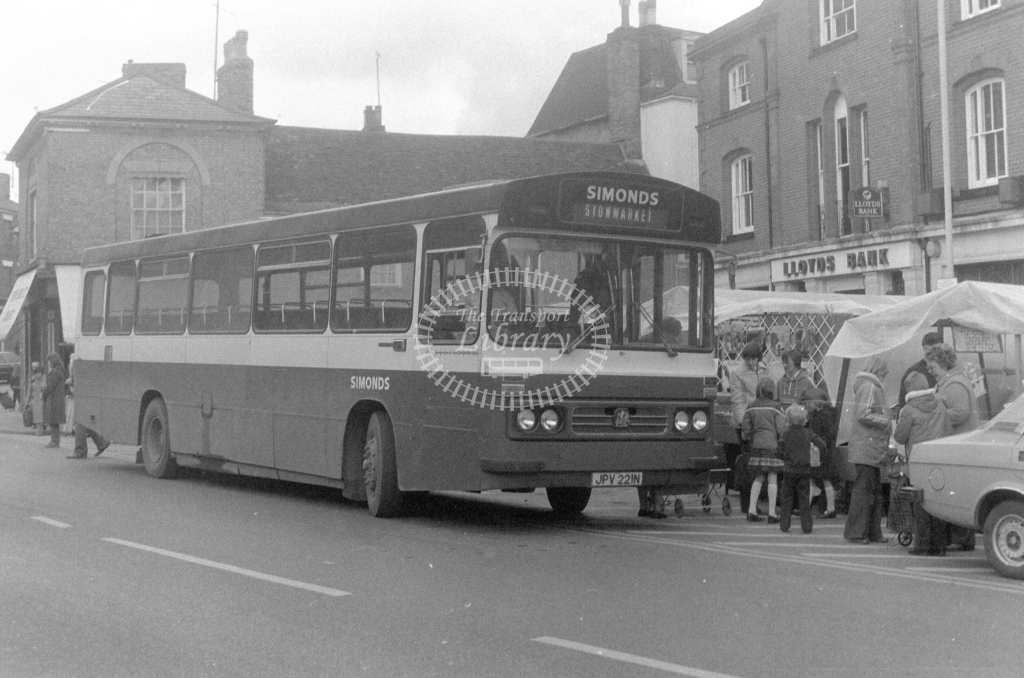 Simonds Bedford YRT JPV221N  at Stowmarket  in 1980 - JGS Smith
