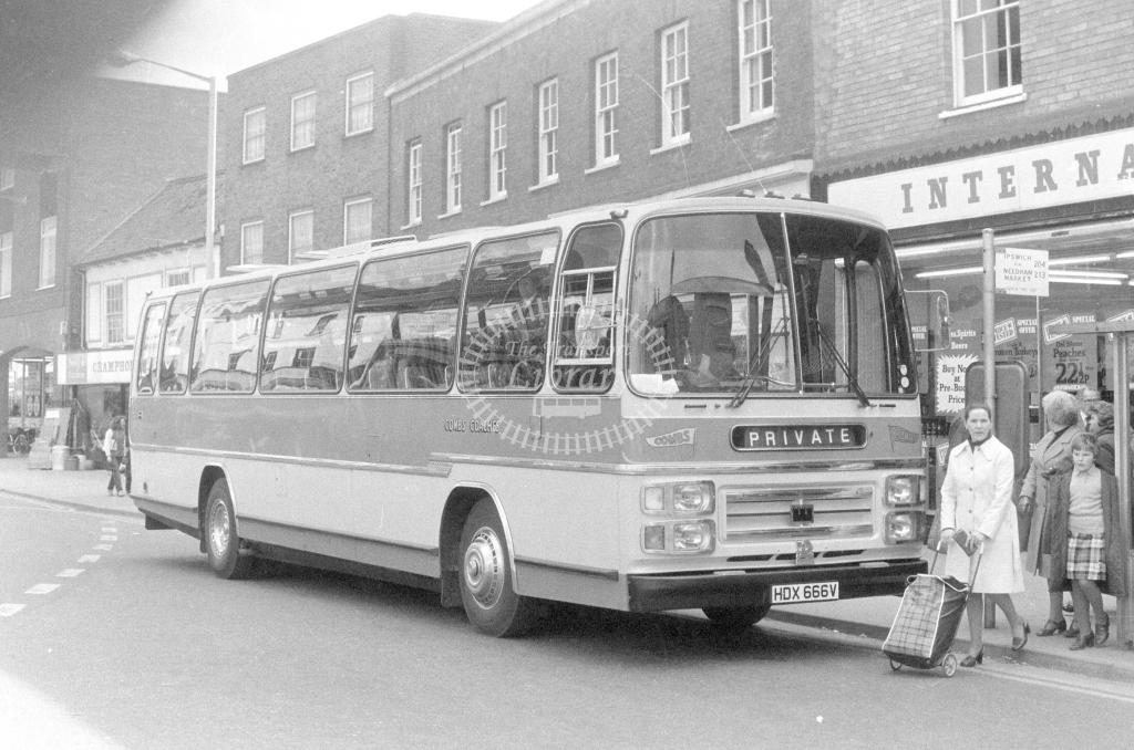 Combs Coaches Bedford YMT HDX666V  at Stowmarket  in 1980 - JGS Smith