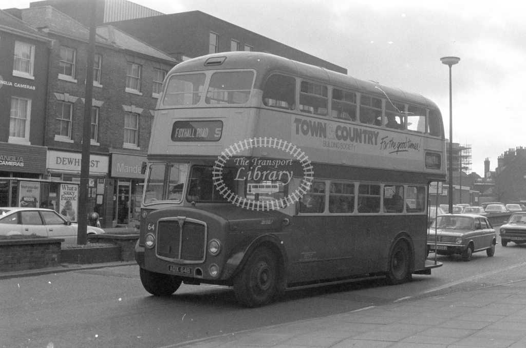 Ipswich Corporation AEC Regent 64  on route 5 ADX64B  at Ipswich  in 1980 - JGS Smith