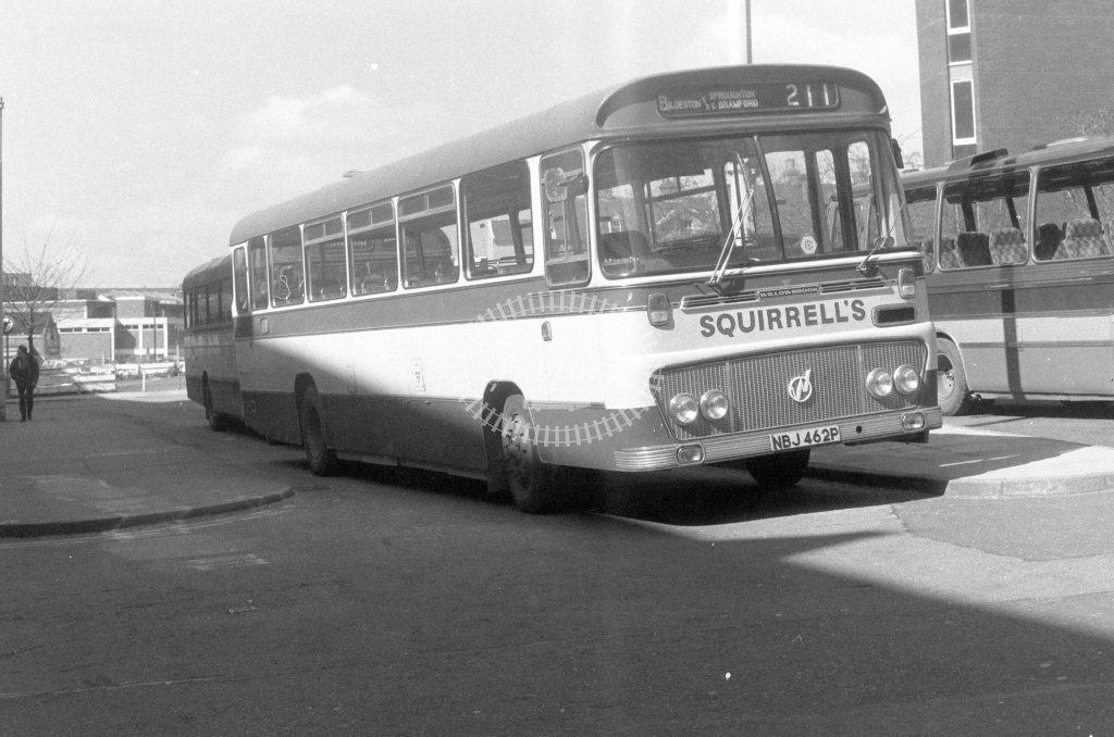 Squirrell's Coaches Bedford YRT NBJ462P  at Ipswich  in 1980 - JGS Smith
