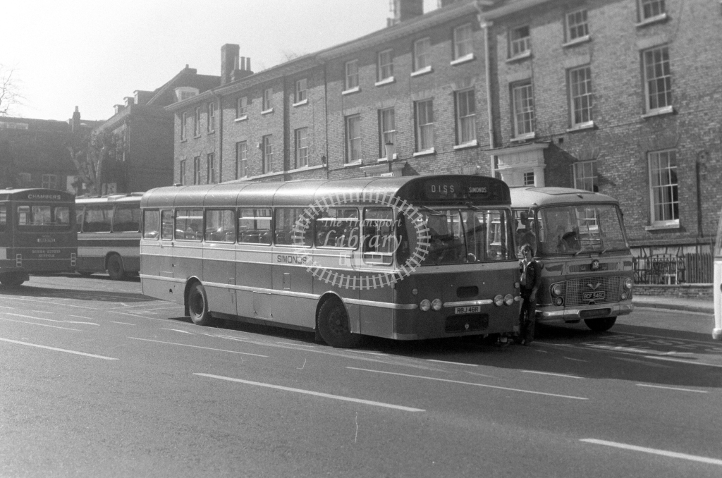 Simonds Bedford YMT RBJ46R  at Bury St Edmunds  in 1980 - JGS Smith