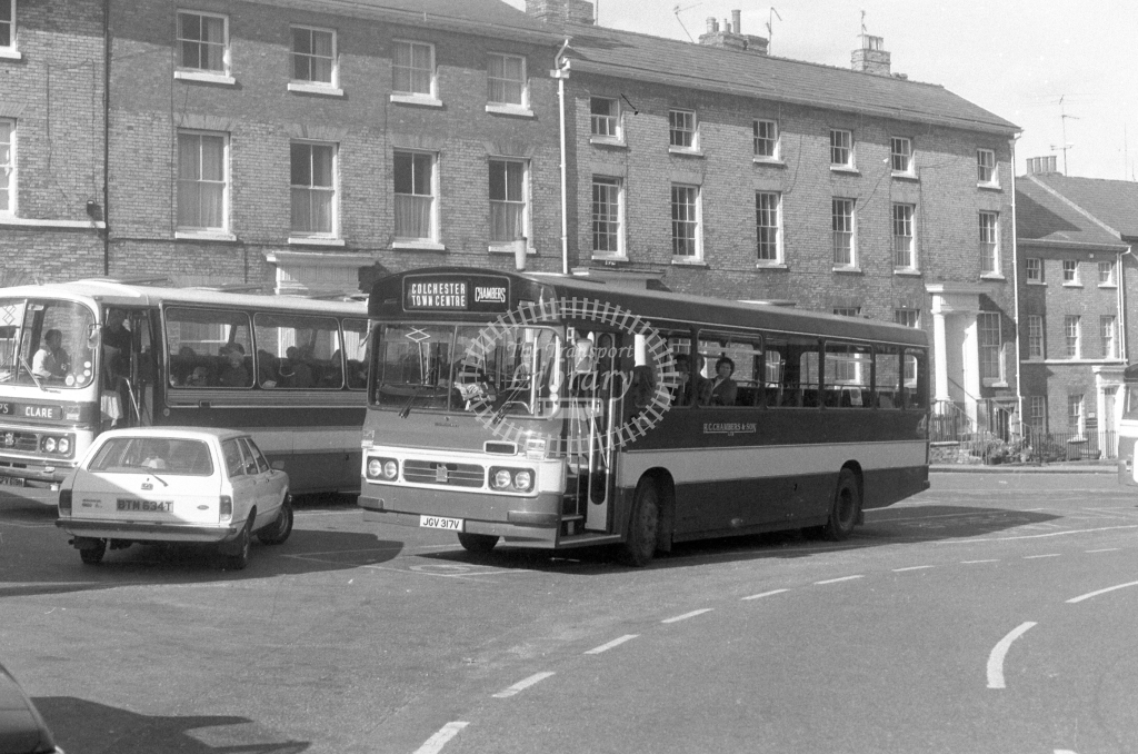 H C Chambers Bedford YMT JGV317V  at Bury St Edmunds  in 1980 - JGS Smith