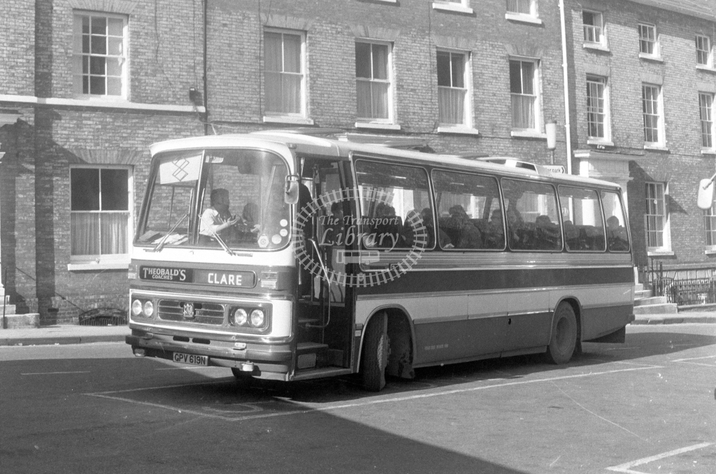 Theobalds Coaches Bedford YRQ GPV619N  at Bury St Edmunds  in 1980 - JGS Smith